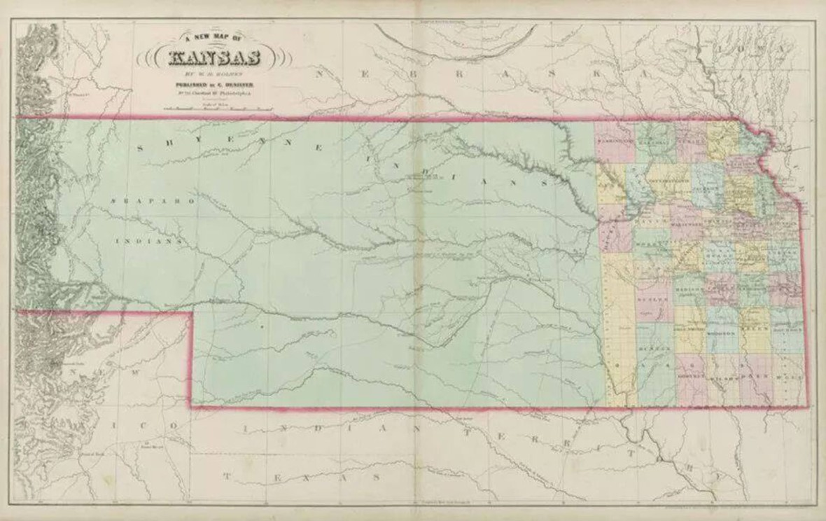 A New Map of Kansas. Map. Philadelphia: Charles Desilver, 1864. David Rumsey.com. Web. 27 December 2016. http://www.davidrumsey.com/luna/servlet/detail/RUMSEY~8~1~246724~5515066:A-New-Map-of-Kansas
