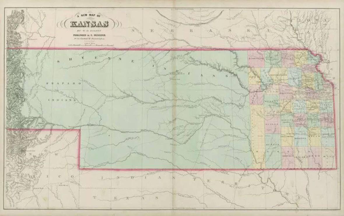 A New Map of Kansas. Map. Philadelphia: Charles Desilver, 1864. David Rumsey.com. Web. 27 December 2016. http://www.davidrumsey.com/luna/servlet/detail/RUMSEY~8~1~246724~5515066:A-New-Map-of-Kansas